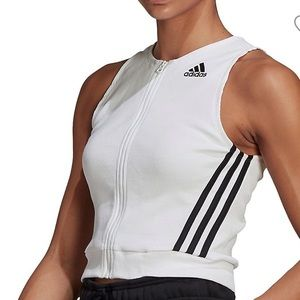 Adidas front zip  fitted Tank Top